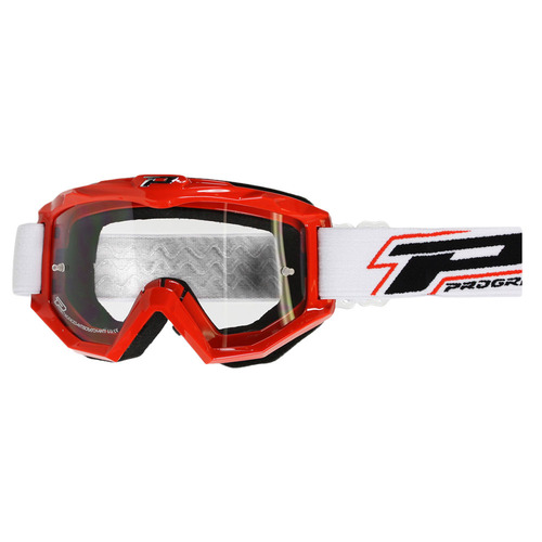 Progrip Raceline 3201 Red Goggles With Clear Lens