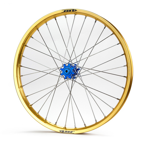 JTR Speedway Gold Rims / Blue Hubs Front Wheel