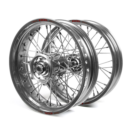 Suzuki Talon / Excel Supermotard Silver Rims / Silver Hubs Wheel Set